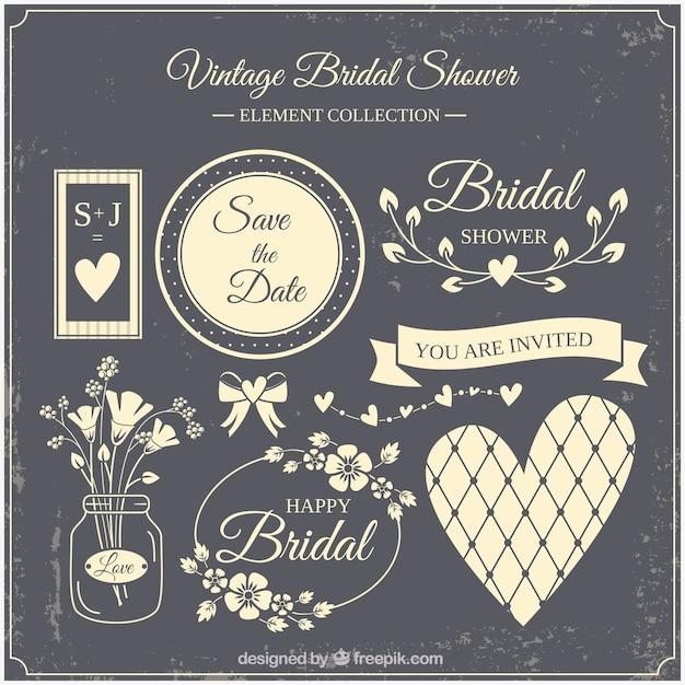 Beige vintage bridal shower element collection Free Vector
