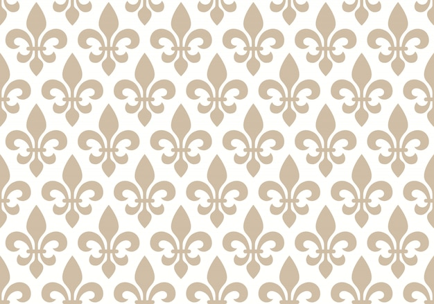 Beige and white seamless floral pattern with royal lily Premium Vector