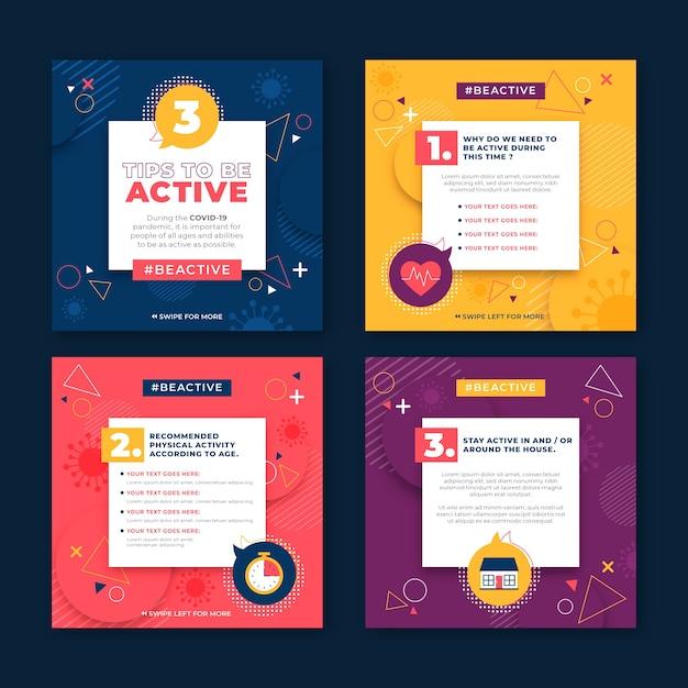 Being active tips instagram concept Free Vector