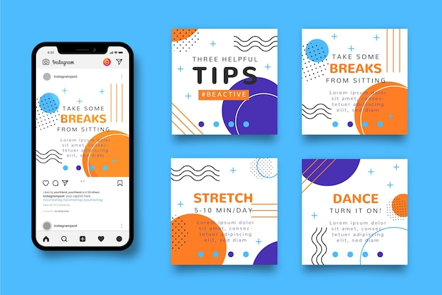 Being active tips instagram post Free Vector