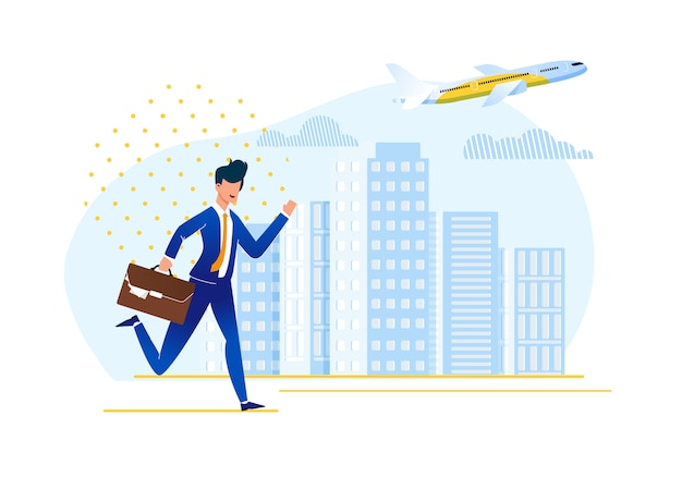 Being late to board plane illustration. Premium Vector