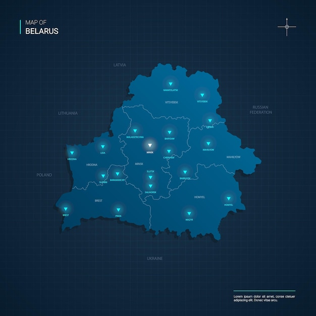 Belarus map illustration with blue neon lightpoints - triangle on dark blue gradient. administrative divisions, cities, borders, capital. Premium Vector