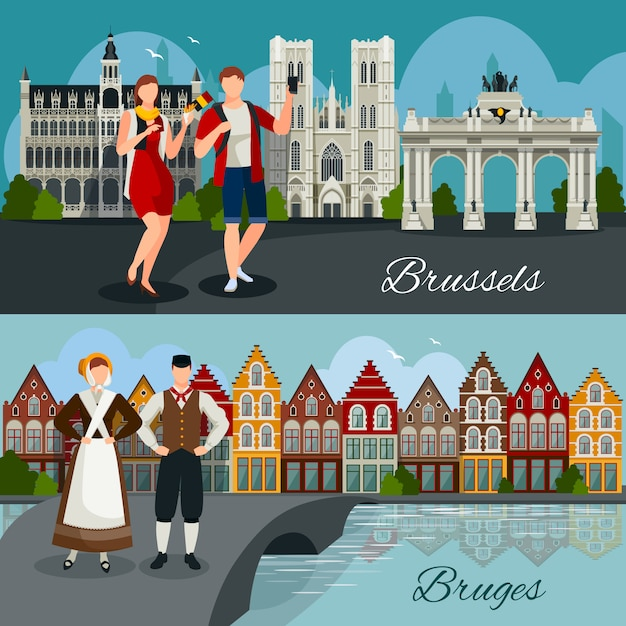 Belgian cities flat style compositions Free Vector