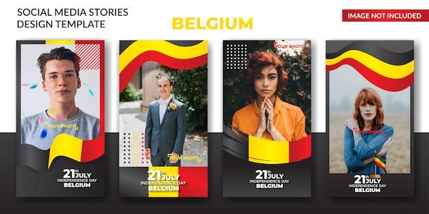 Belgium day  social media Premium Vector
