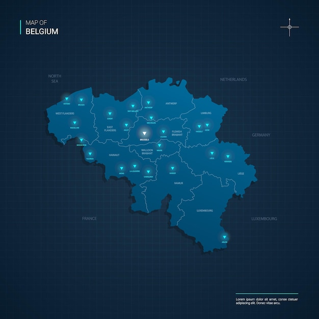 Belgium map illustration with blue neon lightpoints - triangle on dark blue gradient. administrative divisions, cities, borders, capital. Premium Vector