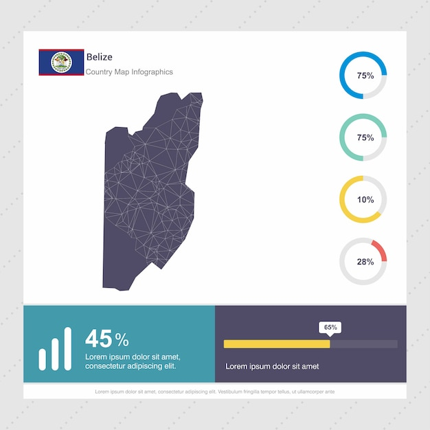 Belize map & flag infographics template Free Vector