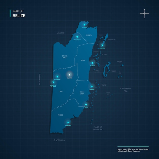 Belize map illustration with blue neon lightpoints - triangle on dark blue gradient. administrative divisions, cities, borders, capital. Premium Vector