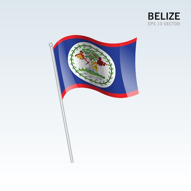 Belize waving flag isolated on gray background Premium Vector