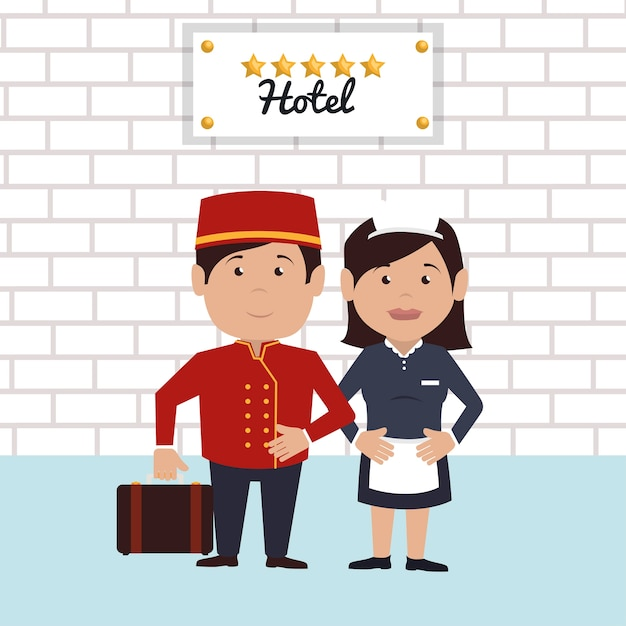 Bellboy service hotel isolated icon Premium Vector
