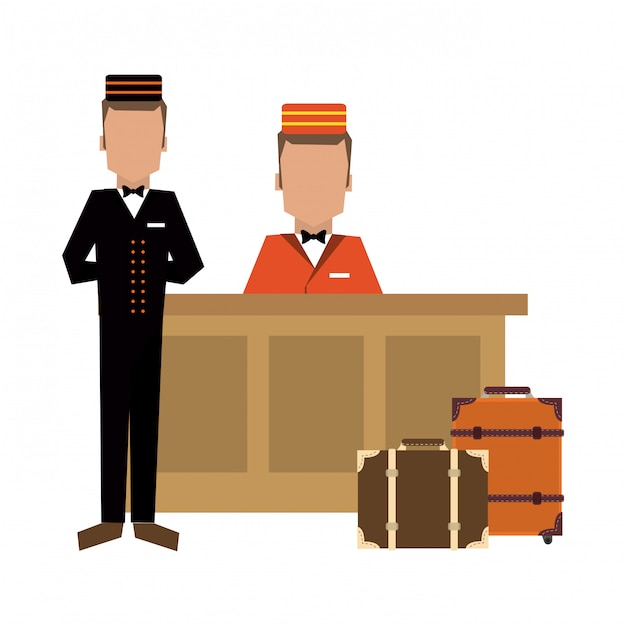 Bellboy with luggage at reception Premium Vector