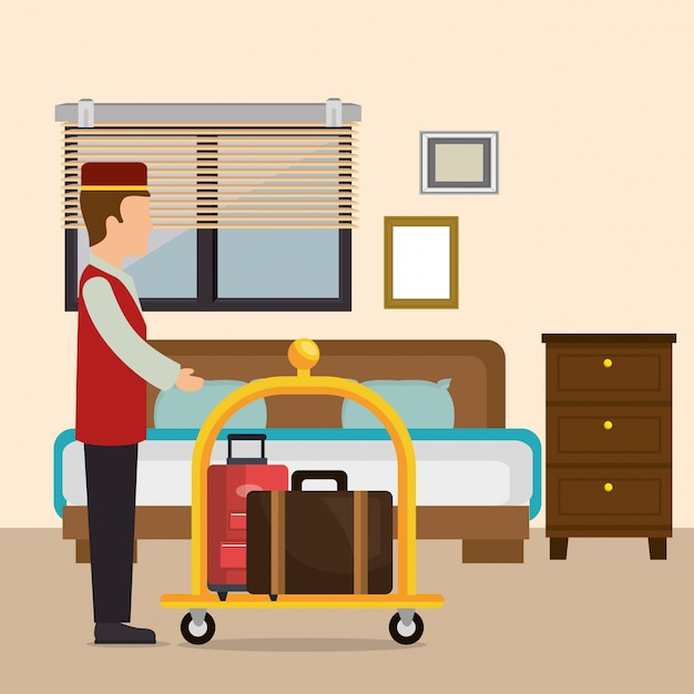 Bellboy working in the hotel character Free Vector
