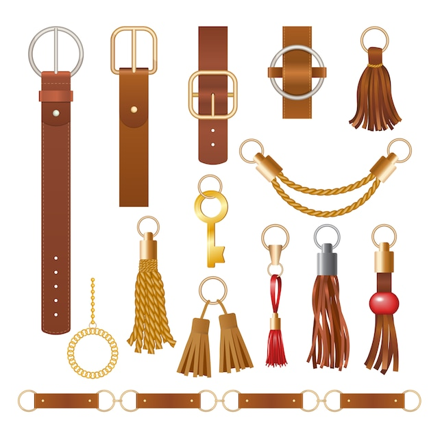 Belt elements. fashion leather chains fabric furniture elegant jewelry for clothes  collection Premium Vector