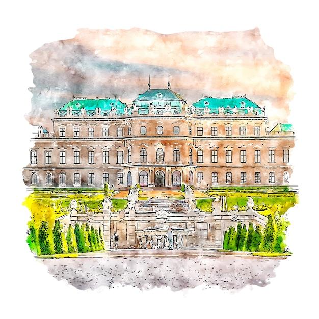 Belvedere museum watercolor sketch hand drawn Premium Vector