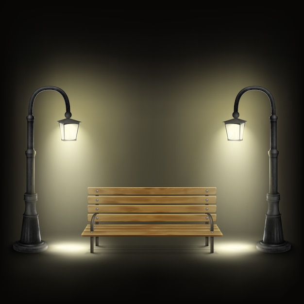 Bench illuminated by street lamps. Premium Vector