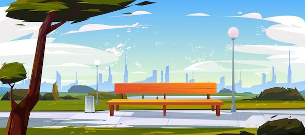 Скамейка в парке летнее время пейзаж с видом на город Бесплатные векторы