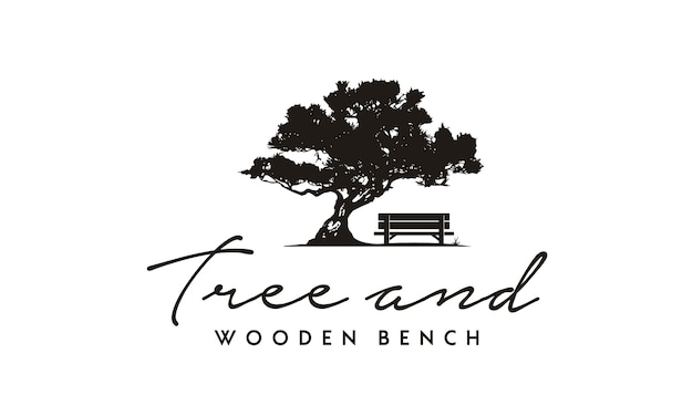 Bench and tree illustration logo design Premium Vector