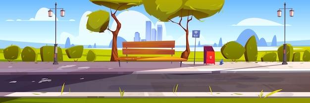 공원 내 무료 wi-fi가있는 벤치, 핫스팟 공용 액세스 구역이있는 야외 장소, 무선 인터넷. 무료 벡터