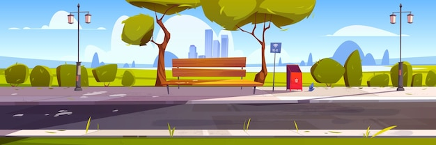 Bench with free wifi in park, outdoor place with hotspot public access zone, wireless internet. Free Vector