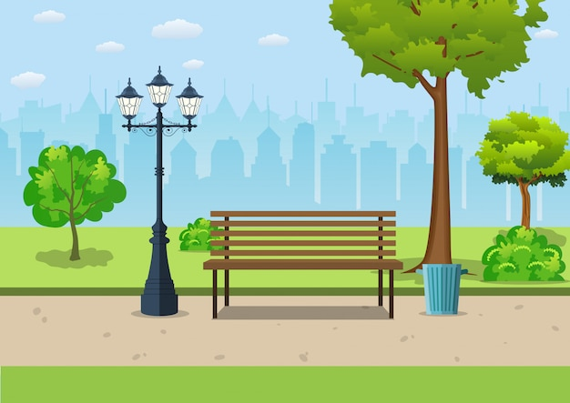 Bench with tree and lantern in the park. Premium Vector