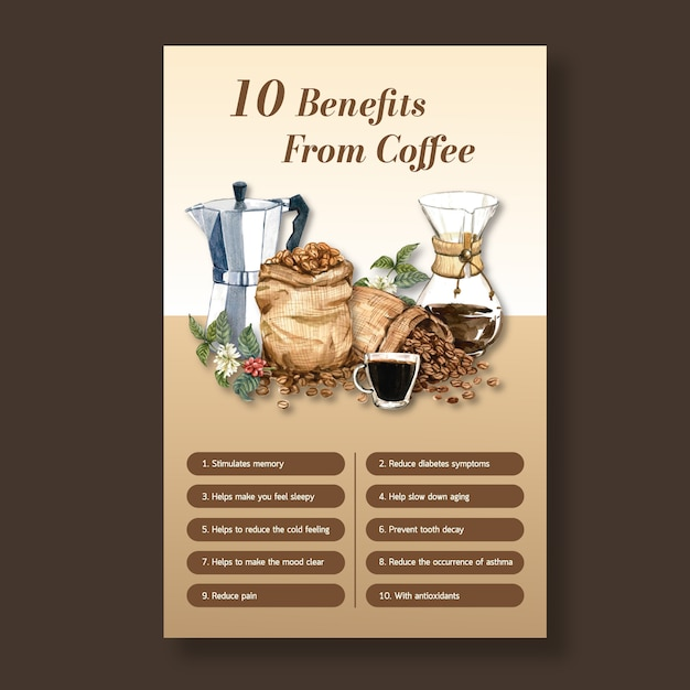 Benefit from coffee, healthy coffee arabica roast maker, infographic watercolor illustration Free Vector