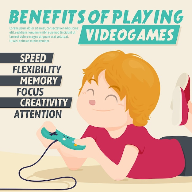 Преимущества игры в видеоигры персонажем с джойстиком Бесплатные векторы