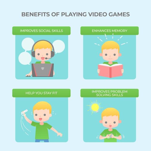 ビデオゲームインフォグラフィックテンプレートをプレイする利点 無料ベクター