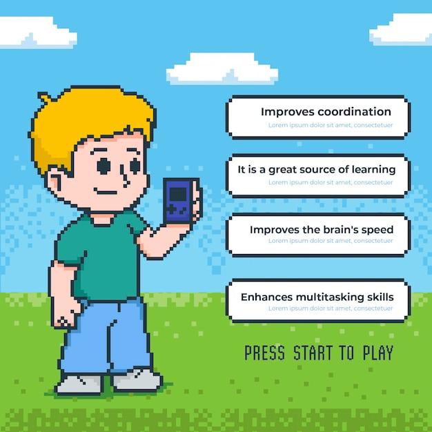 Преимущества игры в шаблон видеоигр с мальчиком Бесплатные векторы
