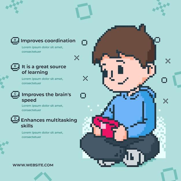 Преимущества воспроизведения видеоигр по шаблону Бесплатные векторы