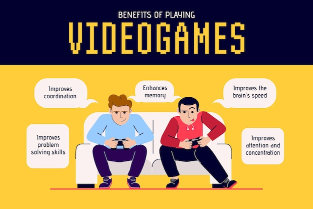 ビデオゲームをする利点 無料ベクター