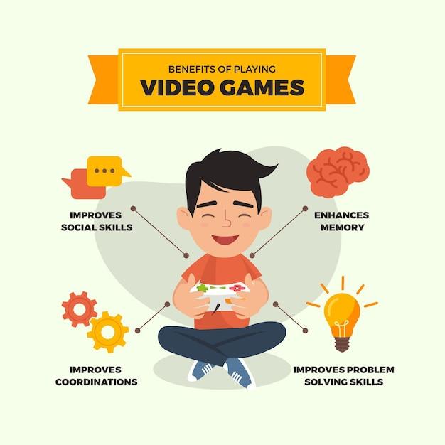 Преимущества игры в видеоигры Бесплатные векторы