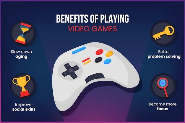 ビデオゲームをプレイする利点 無料ベクター