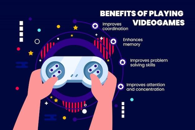 Vantaggi della riproduzione di videogiochi con dettagli Vettore gratuito