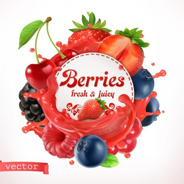 Berries, 3d vector label Premium Vector