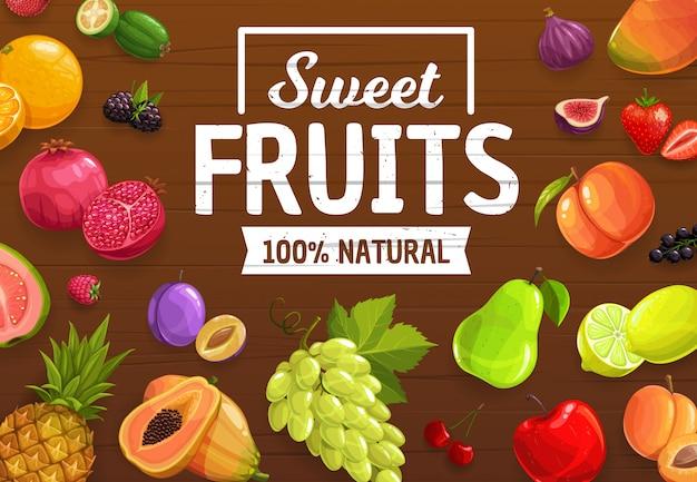 Ягоды и экзотические фрукты, шаблон урожая фермы рынка Premium векторы