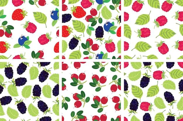 Berries backgrounds set Free Vector
