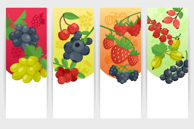 Berries color banners set Free Vector