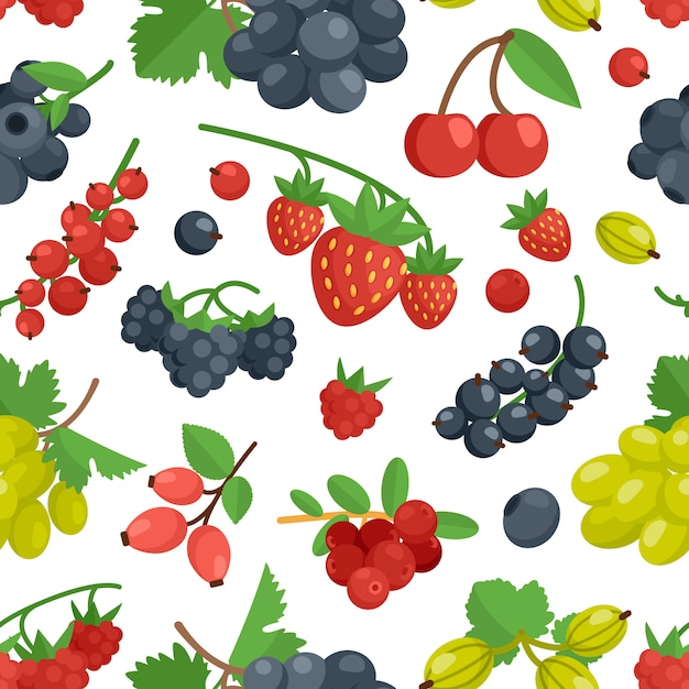 Berries color seamless ornament Free Vector