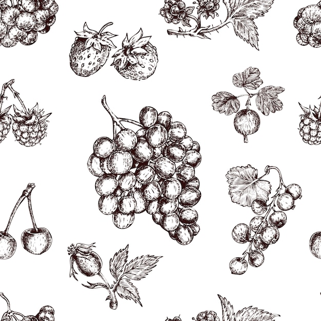 果実手描きのシームレスパターン 無料ベクター