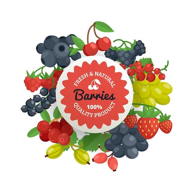 Berries quality flat emblem Free Vector