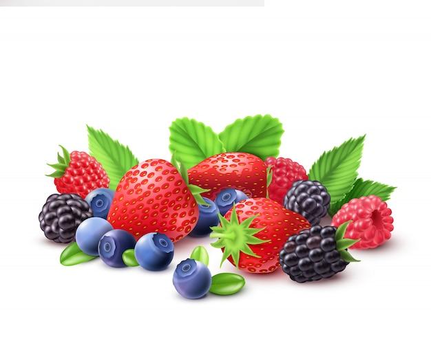 Composizione realistica di frutti di bosco Vettore gratuito