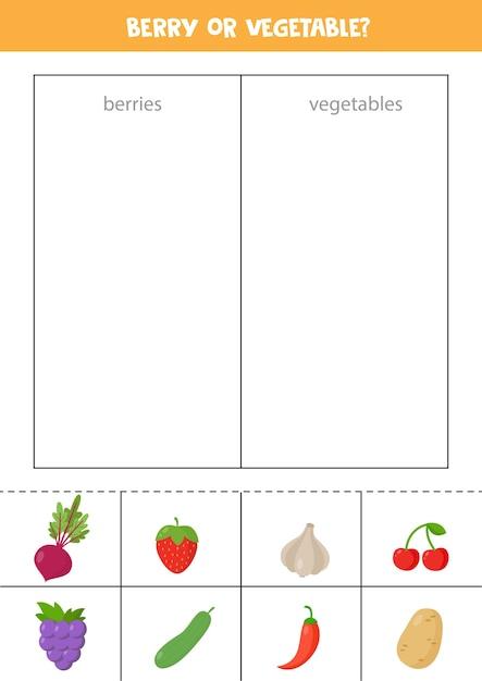 Premium Vector Berries Or Vegetables Sorting Game For Preschool Kids  Educational Logical Worksheet