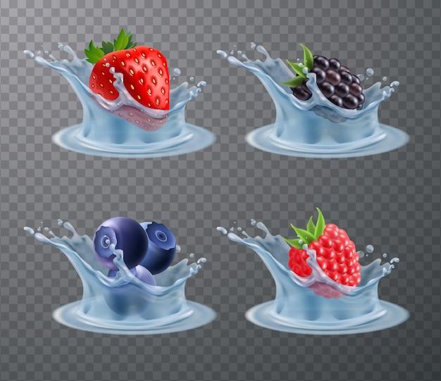 Insieme realistico di spruzzi di acqua di bacche Vettore gratuito