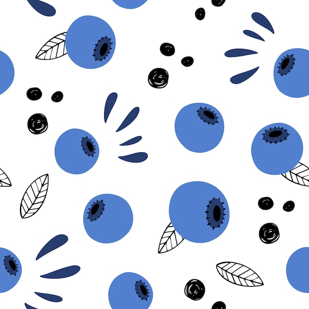 Berry abstract vector seamless pattern. doodle, hand-drawn blueberries. Premium Vector