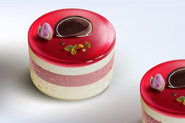 Berry cake mousse Premium Vector