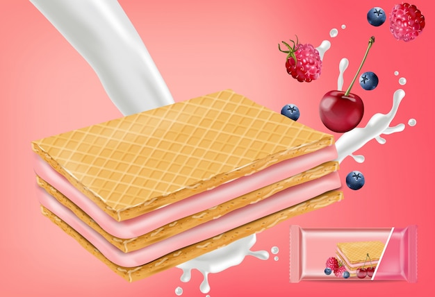 Berry cream waffles cookies mock up Premium Vector