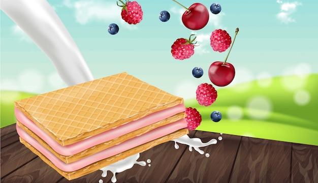 Berry cream waffles cookies mock up Premium Vector
