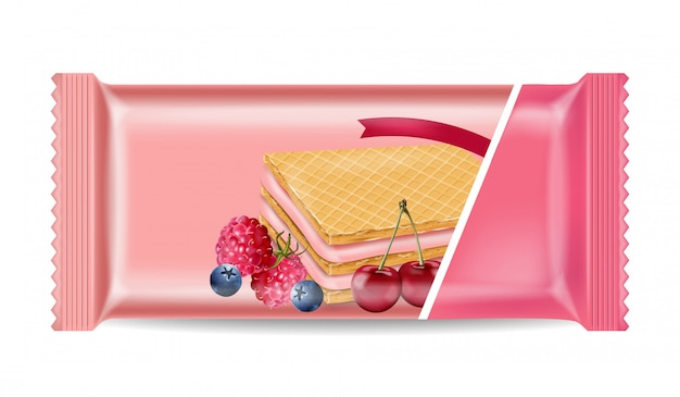 Berry cream waffles package mock up Premium Vector