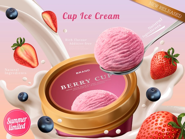 Berry ice cream cup ads, a scoop of premium strawberry ice cream with flowing milk and fruits