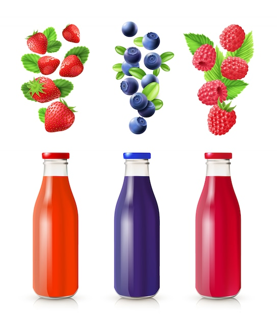 Berry juice realistic set with bottles and berries isolated vector illustration Free Vector