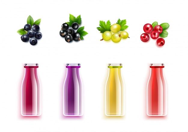 Berry juice realistic set Free Vector